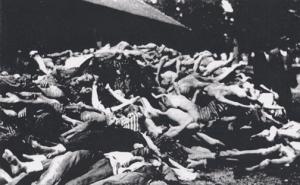 Bodies piled up outside the crematorium at Dachau, April 1945