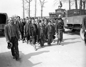 Young boys marching out of the Buchenwald camp