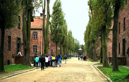 A street in the main Auschwitz camp that is paved with decomposed granite