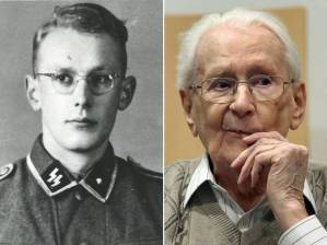 Oskar Groening as a young man, and as he looks now