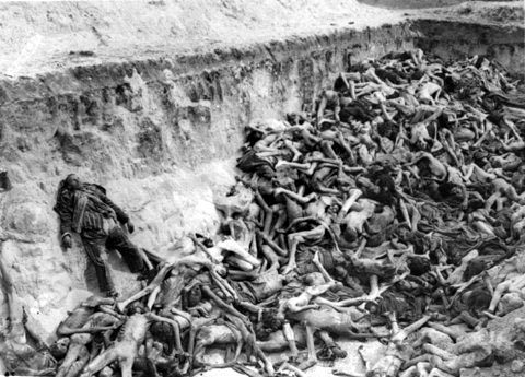 Still photo from a film that was taken by the British at Bergen-Belsen