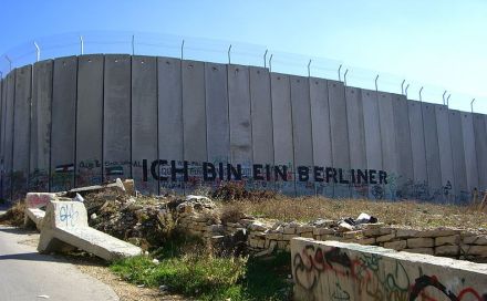 "srael's West Bank separation barrier is often referred to as the ""apartheid wall."" (Photo: Marc Venezia)"