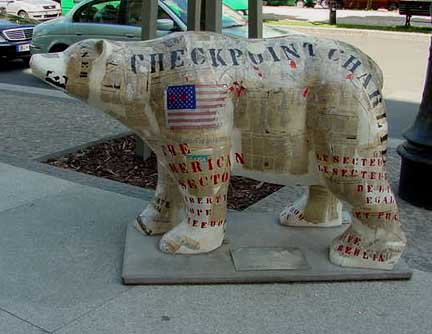 Painted bear in front of Hotel Adlon, 2002