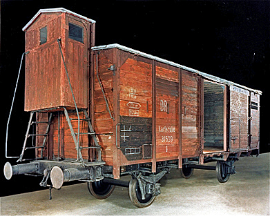 Boxcar on display at Auschwitz-Birkenau