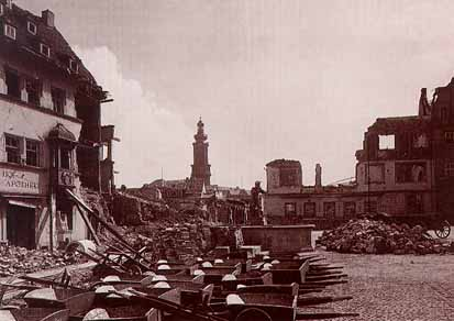 Bomb damage in Weimar, Germany during World War II