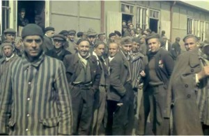 Prisoners at Dachau after they were liberated