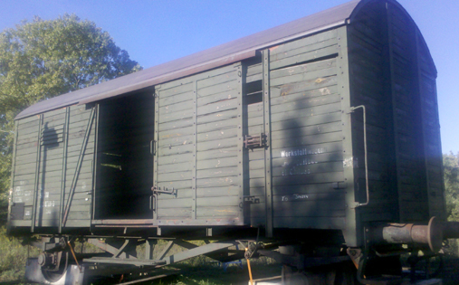 German boxcar that was lifted by a crane into an American Holocaust Museum