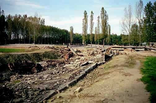 The ruins of Krema II at Birkenau