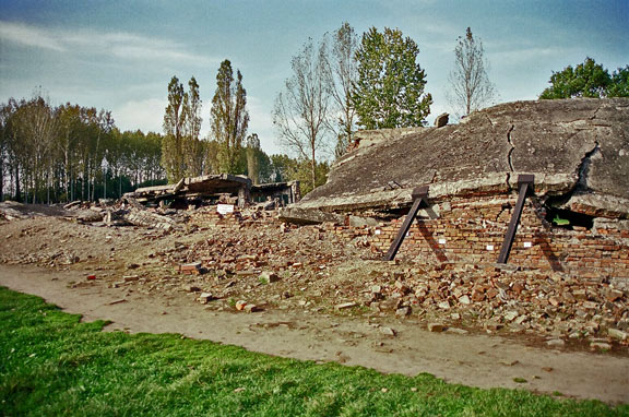 Ruins of the oven room at Krema II in Birkenau