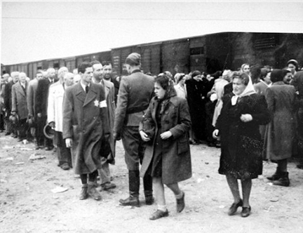 Two women are sent to the left at Auschwitz-Birkenau
