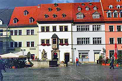 Reconstructed building on Market Square in Weimar