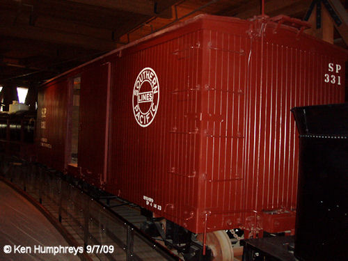 Boxcar on display in Sacramento railroad museum
