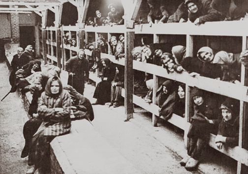 Old women who stayed behind when Auschwitz was evacuated