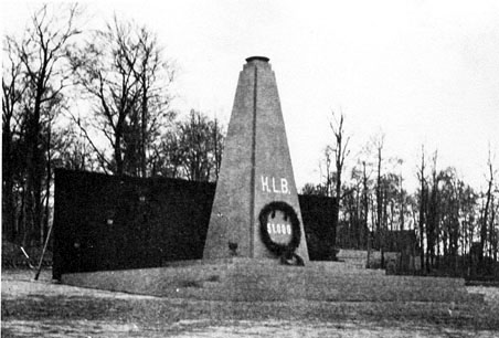 "Monument where the Buchenwald survivors swore the ""oath of Buchenwald"""