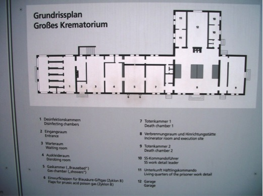 Blueprint of Baracke X building at Dachau