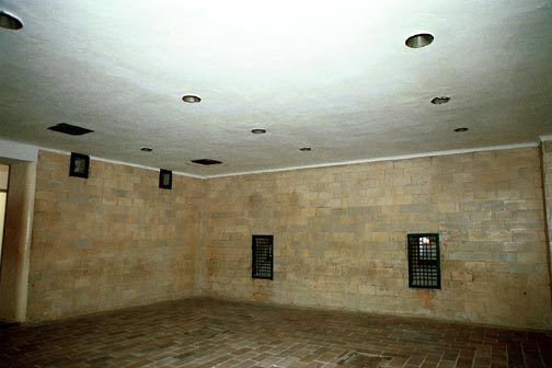 Ceiling of Dachau gas chamber and openings on the east wall
