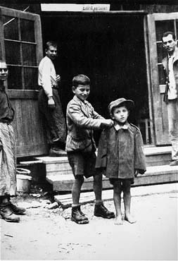 Children at the Ebensee camp after it was liberated