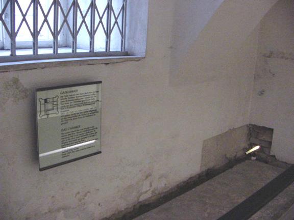 Pipe for carbon monoxide inside Hartheim Castle gas chamber
