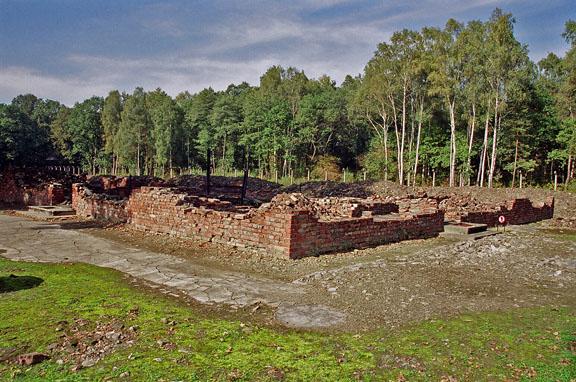 The ruins of Krema V at Birkenau