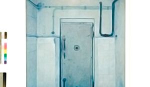 Painting of a door into the Mauthausen gas chamber