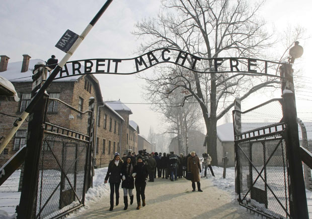 Recent photo of visitors leaving the Auschwitz main camp