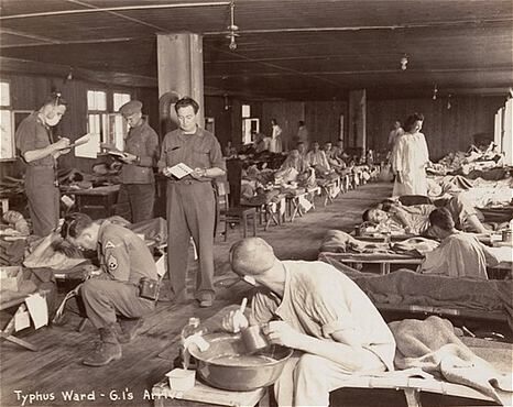Prisoners in the typhus ward at Dachau