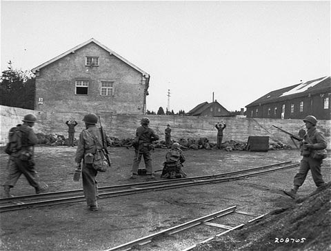 German soldiers being executed at Dachau by 45th Division soldiers