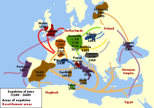 Map shows countries from which Jews were expelled