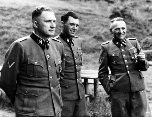 Dr. Josef Mengele is the man in the middle of the photo