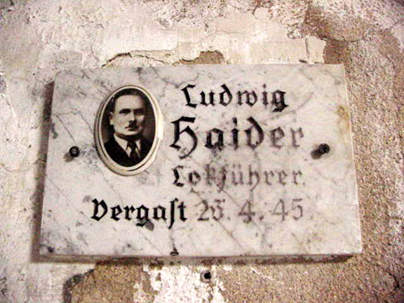 Sign inside Mauthausen gas chamber says that Ludwig Haider was gassed on April 26, 1945
