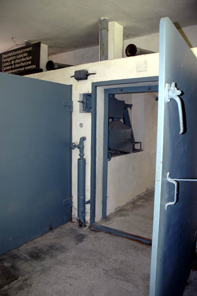 Door into one of the four disinfection chambers in Baracke X at Dachau