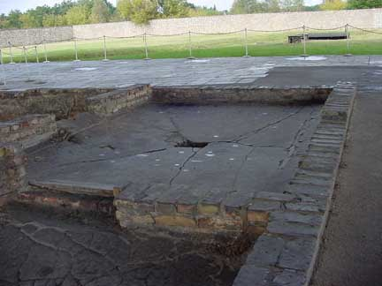 The ruins of the Sachsenhausen gas chamber