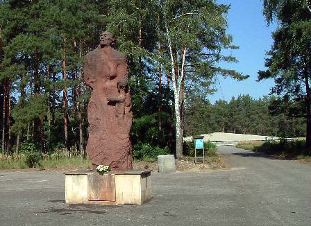 Sobibor Monument with ashes in the background Photo Credit: Alan Collins