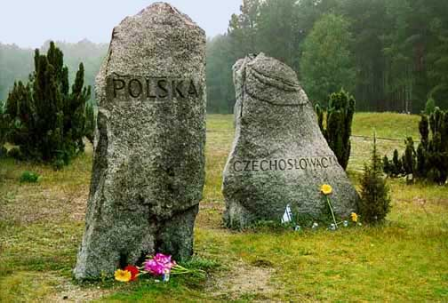 Two of the 10 stones at Treblinka in honor of countries