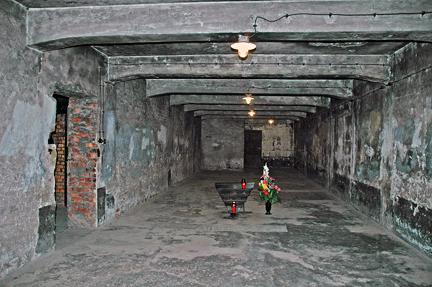 Interior of gas chamber in main Auschwitz camp