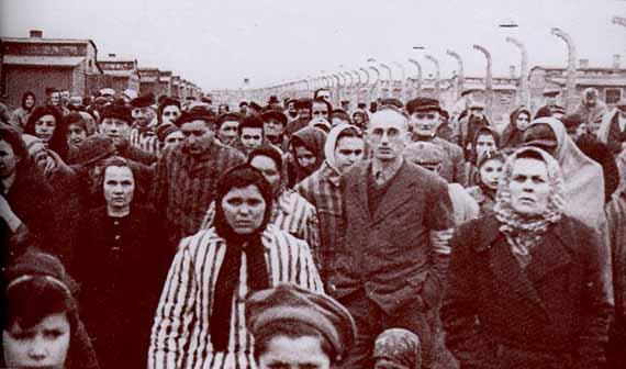 Prisoners walking out of Auschwitz-Birkenau camp