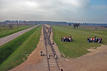Tracks where incoming prisoners were brought to Auschwitz-Birkenau