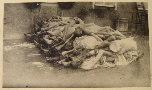 Dead bodies outside the Buchenwald crematorium