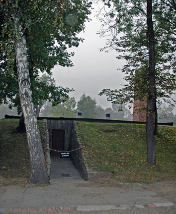 Entrance to the bomb shelter in the former Auschwitz gas chamber
