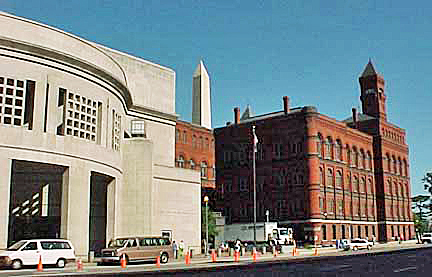 Holocaust Museum on the left with classic brick building on the right