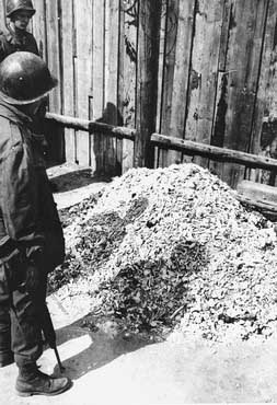 Pile of ashes found outside the Buchenwald crematorium