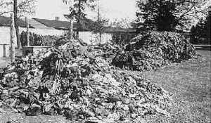 Piles of clothing found at Dachau