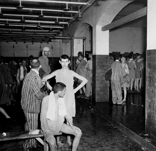April 1945 photo of the shower room in the administration building at Dachau