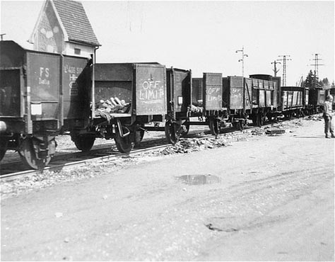 "Line of cars on the ""death train"" found at Dachau"