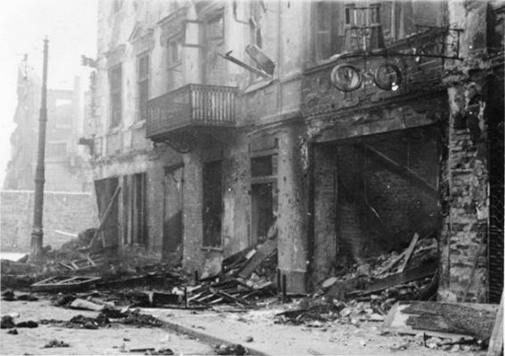 A building that was destroyed during the Warsaw Ghetto Uprising