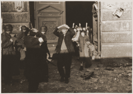 Jews coming out of their hiding places to surrender