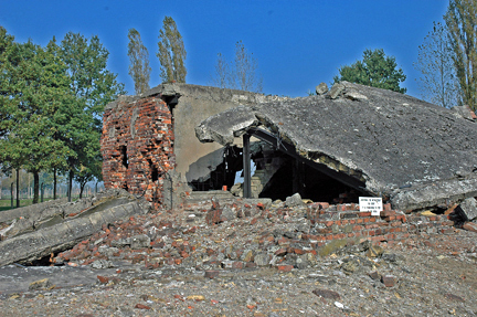 2005 photo of the ruins of Krema II at Auschwitz-Birkenau