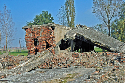 Ruins of the crematorium in the Krema II building at Birkeanu