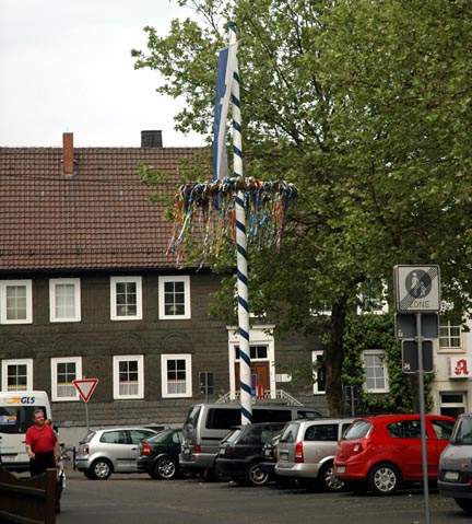 Maypole in the town square of Geseke, Germany
