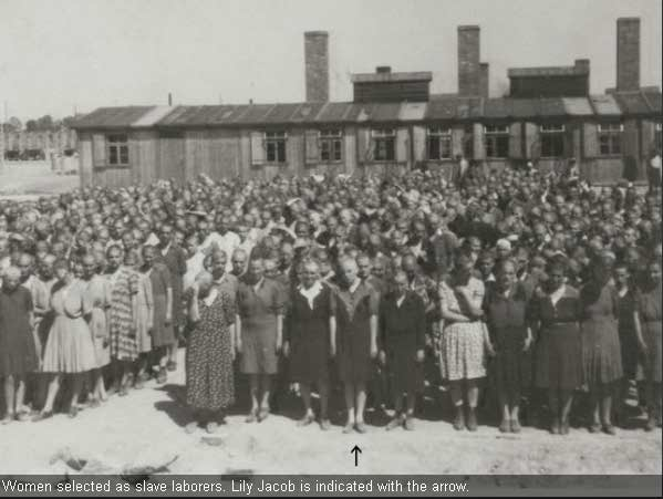 Women prisoners at Auschwitz-Birkenau lined up in front of the Medical Building